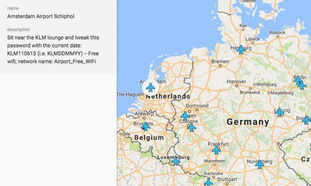 Geniaal idee: Alle gratis Wifi hotspots op luchthavens in 1 kaart