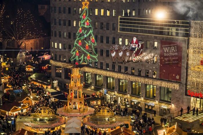 Spektakel op de kerstmarkt in Bochum